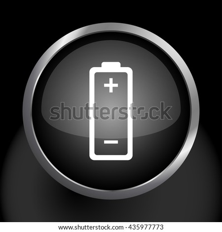 Battery Icon Glossy Glass Icon - stock vector