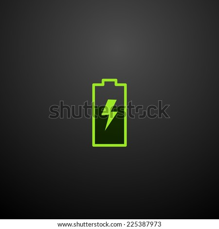 Battery icon isolated on a black background for your design, vector illustration - stock vector