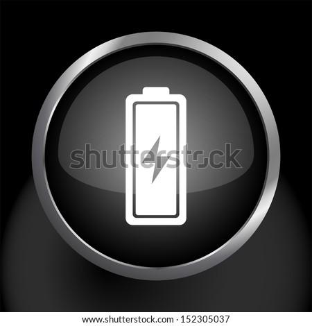 Battery Icon Vector Glass Icon - stock vector