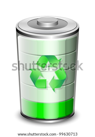 Battery icon with recycle sign, renewable energy concept. Vector - stock vector