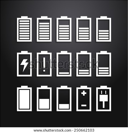 Battery icons set, charge level indicators - stock vector