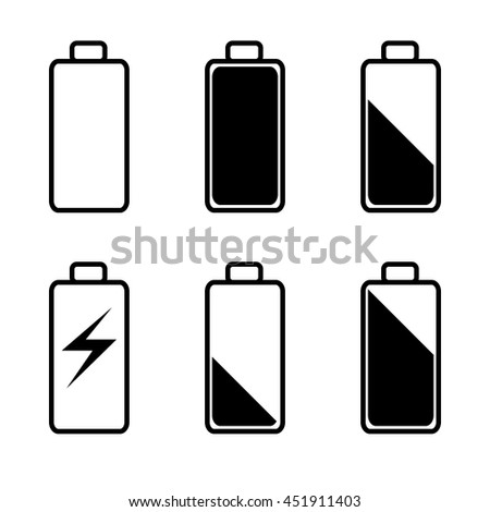 Battery icons set. Flat Battery icons vector. Full Battery, Empty battery, charged battery, black and white battery, battery isolated. black battery. battery illustration. battery power. battery sign. - stock vector
