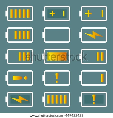 Battery icons set, isolated on grey background, vector illustration. - stock vector