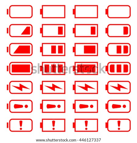 Battery icons set, red isolated on white background, vector illustration. - stock vector