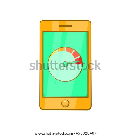 Battery indicator on phone icon in cartoon style isolated on white background. Charge symbol - stock vector