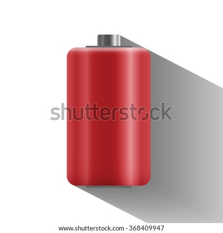 battery is dead with long shadow, flat design  - vector illustration - stock vector