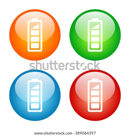 Battery Level Icon with Four Glass Button Icon Colors - stock vector