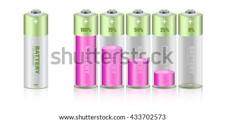 Battery load illustration isolated on white background, vector. - stock vector