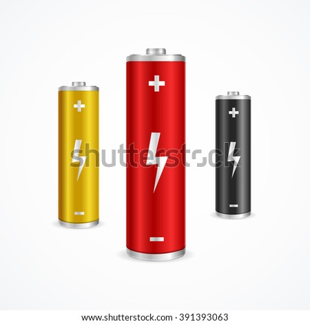 Battery Set Can be Used for Web, in Interfaces. Vector illustration - stock vector