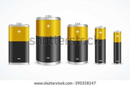 Battery Set Different Sizes on White Background. Vector illustration - stock vector