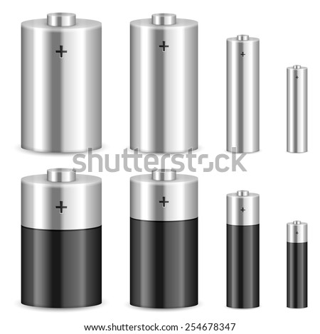 Battery set on a white background. Vector illustration. - stock vector