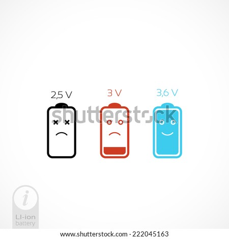 Battery Vector icon set. information on lithium-ion batteries - stock vector
