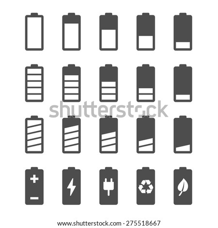 Battery vector icon set with charge level indicators. Flat simple icons - stock vector