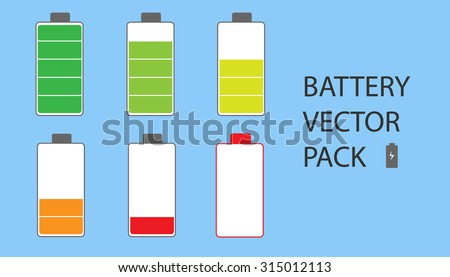 Battery Vector Pack Set. The set is ranging from fully charged battery to empty battery. - stock vector