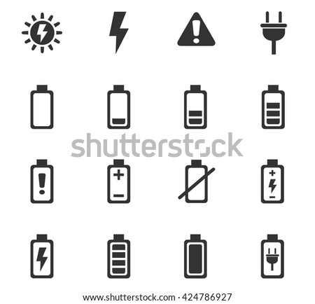 battery web icons for user interface design - stock vector