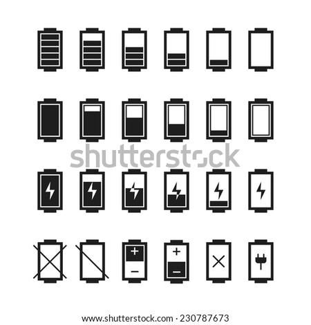 Battery web icons,symbol,sign in flat style. Charge level indicators. Vector illustration. - stock vector