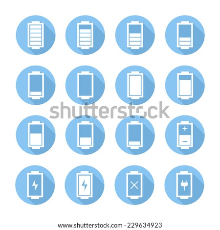 Battery web icons,symbol,sign in flat style with long shadow. Charge level indicators. Vector illustration. - stock vector