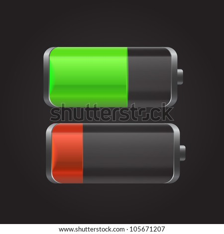 Battery with the level of charge and reflection green and red. Can be used for web-sites, in different interfaces, laptops, etc. Vector illustration. - stock vector