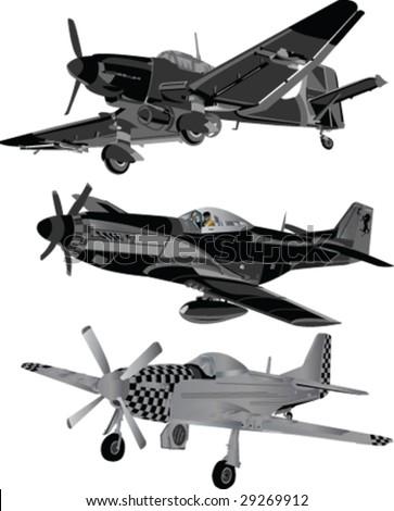 battle planes silhouett - vector - stock vector