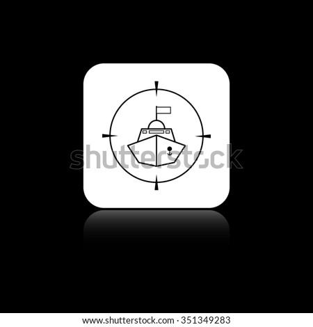 Battle ship - black vector icon on the white button - stock vector