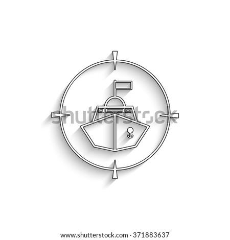 Battle ship - white vector icon with  shadow - stock vector