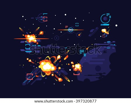Battle star space - stock vector