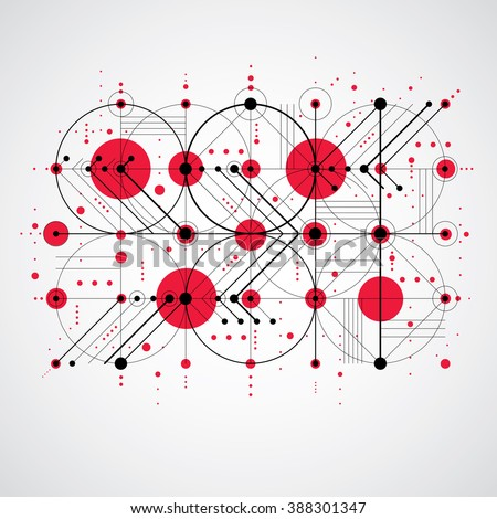Bauhaus art composition, decorative modular red vector wallpaper with circles and grid. Retro style pattern, graphic backdrop for use as booklet cover template. - stock vector
