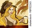 Bavarian waitress with a beer at the bar - stock vector
