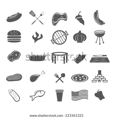 BBQ and fast food web icons set flat design - stock vector
