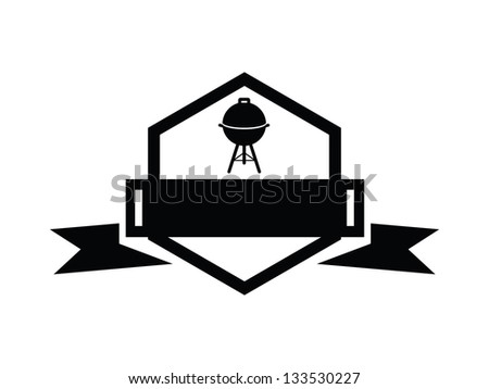 BBQ Badge with Blank Banner. - stock vector