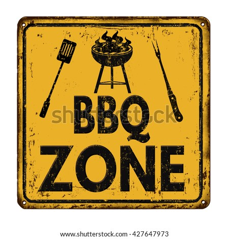 BBQ Barbecue zone vintage rusty metal sign on a white background, vector illustration - stock vector