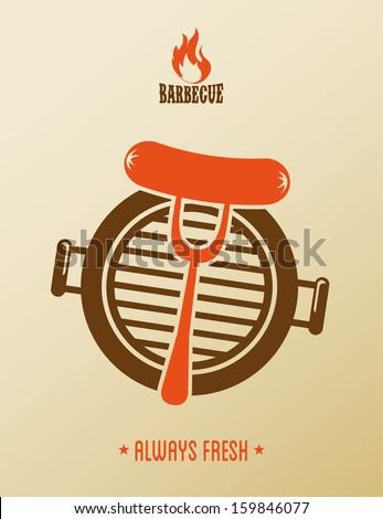bbq design over pink background vector illustration - stock vector