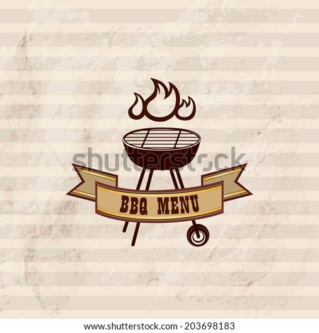 BBQ design wallpaper. Barbecue label over vintage pattern. Grill food retro background - stock vector