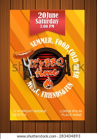 BBQ Grill flyer, Typographical Design, vector illustration. - stock vector