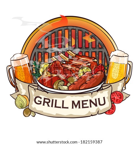 BBQ Grill label design with ribbon banner and sample text. - stock vector