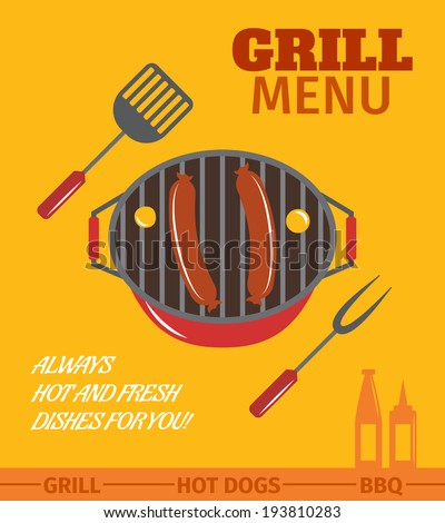 BBQ grill menu restaurant always hot and fresh dishes poster vector illustration - stock vector