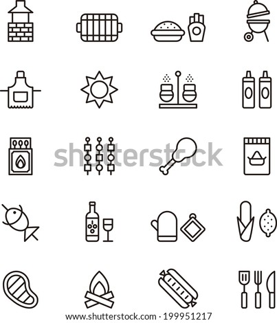 BBQ icons - stock vector