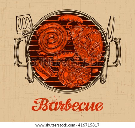 BBQ party. Barbecue vector template of menu design restaurant or cafe - stock vector