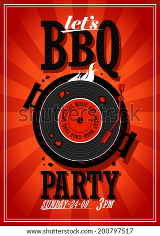 Bbq party design with vinyl record on the grill - stock vector