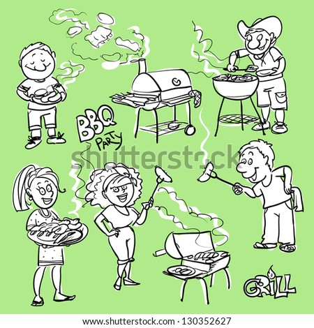 BBQ party doodles, hand drawn comic people - stock vector