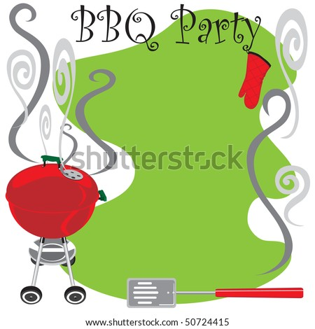BBQ Party Invitation with smoking hot grill - stock vector
