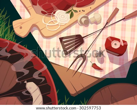 BBQ party. Vector illustration. - stock vector