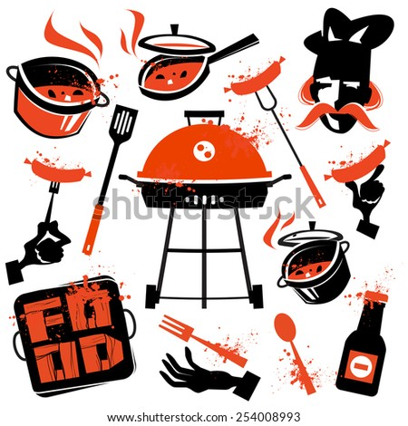 BBQ vector logo design template. cooking or kitchen icon. - stock vector