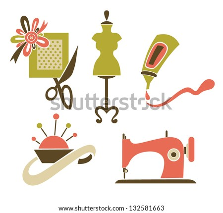 be a designer, hand made and craft, vector collection of symbols and icons - stock vector
