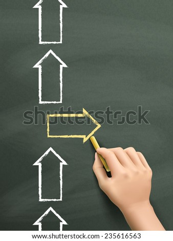 be different concept drawn by hand isolated on blackboard - stock vector