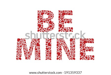 Be mine red love hearts - stock vector