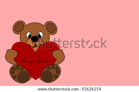 Be my Valentine - cute teddy bear with red heart. - stock vector