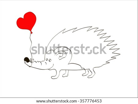 Be My Valentine Greeting Card with Cute Hedgehog Illustration Holding a Heart. Saint Valentine's day vector - stock vector