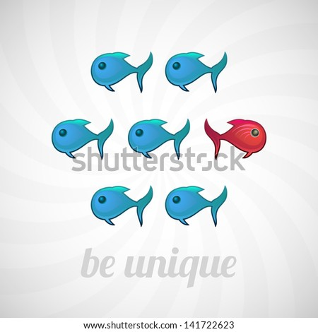Be unique concept, blue and red fish, isolated vector illustration - stock vector