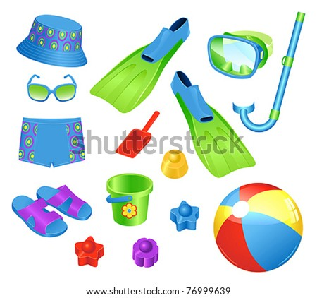 Beach accessories for boy - stock vector